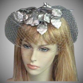 Lovely 1960's Silver Net Veil Hat