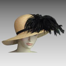Stunning Natural Straw & Feather Hat