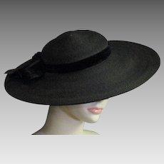 Outstanding 1920's Fine Black Straw Pancake Hat