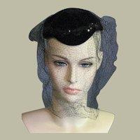 Vintage Black Velvet Party Hat
