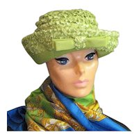 Yellow Green Raffia Summer Church Hat