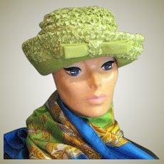 Yellow Green Raffia Summer Church Hat