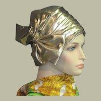 Vintage Gold Lame Cloche Hat