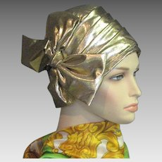 Vintage Gold Lame Cloche Hat