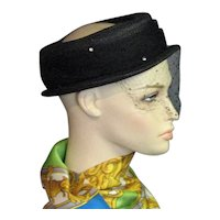 Pretty Little 1940's Black Straw & Net Hat