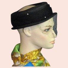Pretty Little 1940's Black Straw & Net Hat
