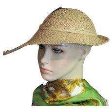 Fabulous Natural Woven Raffia 1940's Hat