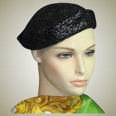 Little Vintage Black Straw Hat