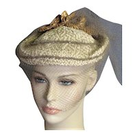 Charming 1940's Tan Straw With Brown Veil Hat