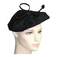Black Wool Felt '30's-'40's Outstanding Hat