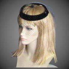 Vintage 1960's Black Velvet Church Hat