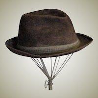 Men's Vintage Brown Velour Berg Fedora