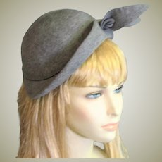 Stunning Early 1950's Gray Wool Felt Hat