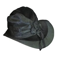 Unbelievable Antique Victorian Black Silk & Velvet Hat