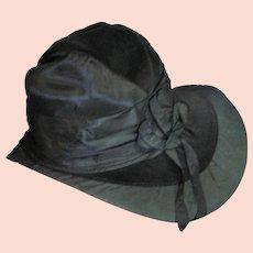 Unbelievable Antique Victorian Black Silk & Velvet Hat
