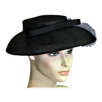 Black Linen Church Picture Hat