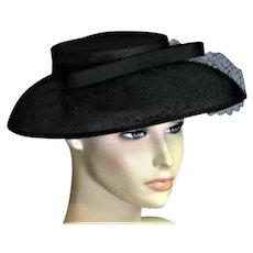 Black Linen Church Picture Hat