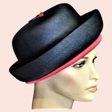 Michael Terre Outstanding Navy Blue & Hot Pink Church Hat