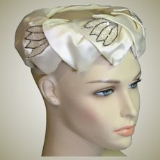 Beautiful 1960's Fancy White Satin & Sequin Trim Hat