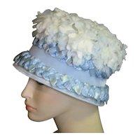 Straw & Fabric Flower Cloche Style 1960's Hat