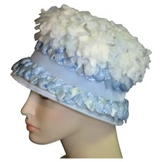 Straw & Fabric Flower Cloche Style 1960's Hat