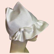 White Cloth Cloche Style Hat