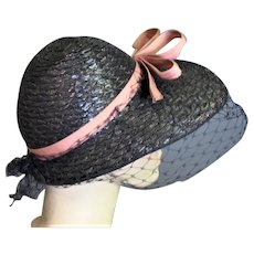 1920's Front Brim Black Straw With Pink Ribbon Hat