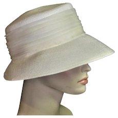 White Fine Straw Valerie Mode 60's Hat