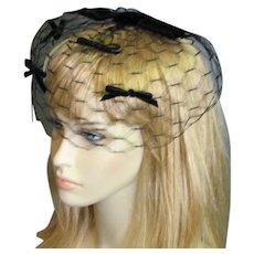 1960's Black Veil Hat