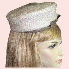 1960's White Pill Box Hat