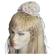 1960's Light Oyster Colored Fabric Flower Top Veil Hat