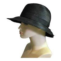 Spectacular 1960's Black Straw Riviera Original Modes Hat