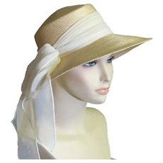 Beautiful Straw Picture Hat With White Chiffon Bow