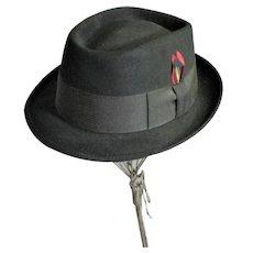 Handsome Vintage Portis 1940's Black Wool Men's Hat