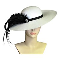 David M White Straw Picture Hat With Black Feathers