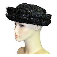 1960's Black Braided Raffia Hat