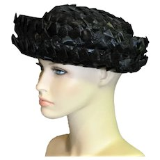 1960's Black Braided Raffia Hat