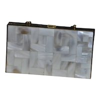 Mother OF Pearl Quilted Tile Inlay Minaudiere Purse
