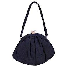 1930's Little Black Fabric Bag