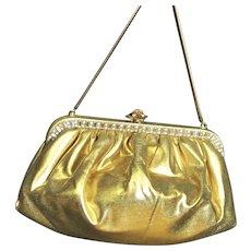 Spectacular Gold Lame Faye Mell Design Rhinestone Bag