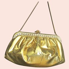 Spectacular Gold Lame Faye Mell Design Rhinestone Bag
