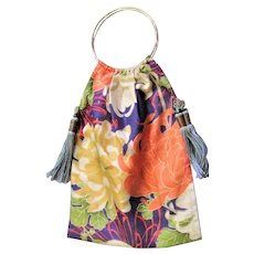 Unique Asian Made Colorful Silk Round Handle Bag