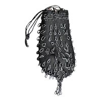 Beaded Crouched Flower Lined Bag