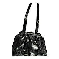 Beautiful Black Genuine Snake Shoulder Handbag
