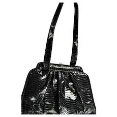 Beautiful Black Genuine Snake Shoulder Handbag
