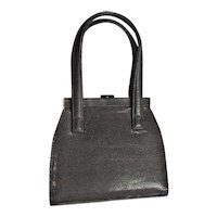 Brown Vinyl Snake Print Handbag