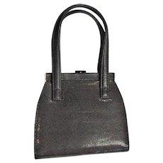Brown Vinyl Snake Print Handbag