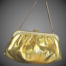 Elegant Gold Fabric With Rhinestones Bag