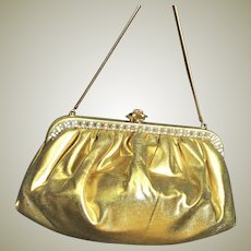 Elegant Gold Fabric With Rhinestones Bag