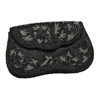 Black Beaded Evening Clutch Bag